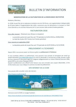 Bulletin d'information redevance incitative